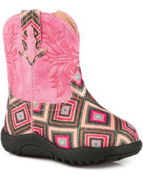 Roper Infant Girls' Glitter Diamond Pre-Walker Cowgirl Boots , Pink, hi-res