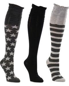 La De Da Women's Stars and Stripes Scrunch Knee High Sock Set, , hi-res