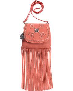 Bandana by American West Austin Peach Fringe Flap Wallet Bag , , hi-res