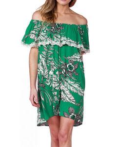 Miss Me Women's Green Off Shoulder Floral Print Dress , , hi-res