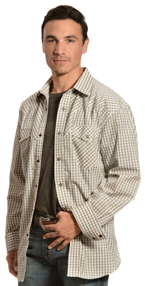 Red Ranch Cream and Brown Plaid Western Shirt, Cream, hi-res