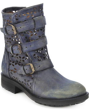 Circle G Buckled Cut-Out Ankle Boots - Round Toe, Blue, hi-res