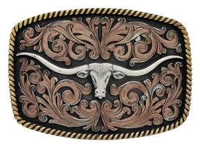 Montana Silversmiths John Wayne Classic Impressions Longhorn Attitude Belt Buckle, Multi, hi-res