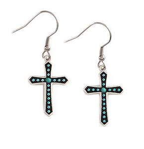Montana Silversmiths Silver-tone & Faux Turquoise Stones Cross Earrings, Silver, hi-res