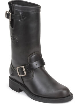 """Chippewa Women's Whirlwind 11"""" Engineer Boots - Round Toe, Black, hi-res"""