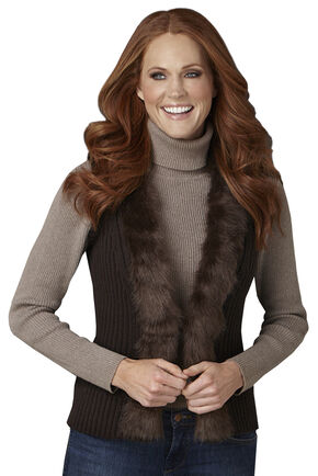 Cripple Creek Faux Fur Collar Brown Sweater Vest, Sable, hi-res