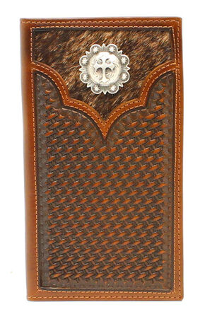 Nocona Hide-on-Hair Rodeo Wallet, Med Brown, hi-res