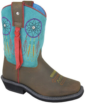 Smoky Mountain Youth Girls' Dreamcatcher Western Boots - Square Toe, Brown, hi-res