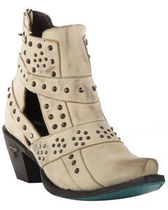 Lane Women's Cream Stud and Straps Fashion Boots - Snip Toe , , hi-res