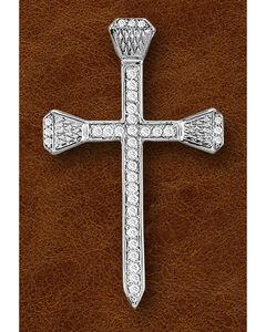 Kelly Herd Sterling Silver Rhinestone Nail Cross Pendant, , hi-res