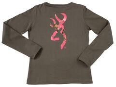 Browning Women's Grey and Fuchsia Buckmark Long Sleeve T-Shirt  , , hi-res