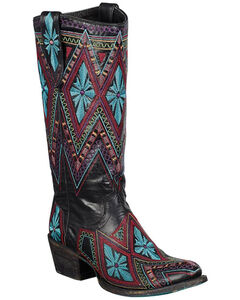 Lane Sunshine Aztec Embroidered Cowgirl Boots - Round Toe, , hi-res