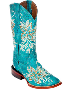 Ferrini Turquoise Star Power Cowgirl Boots - Square Toe, Turquoise, hi-res