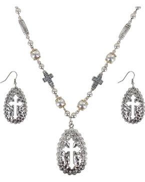 Shyanne Women's Cut-out Cross Jewelry Set, Silver, hi-res