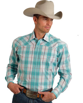 Roper Men's Amarillo Collection Aqua Plaid Snap Long Sleeve Shirt, Green, hi-res