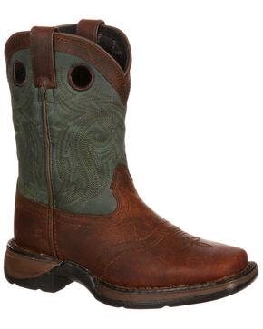 Durango Youth Saddle Western Boot - Square Toe, Dark Brown, hi-res