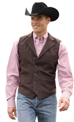 Miller Ranch Plaid Wool Lapel Collar Vest, Brown, hi-res
