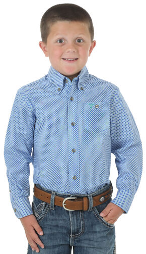 Wrangler 20X Boys' Blue Plaid Long Sleeve Shirt, Blue, hi-res