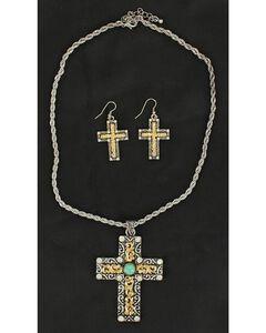Blazin Roxx Two-Tone Cross Necklace & Earrings Set, , hi-res