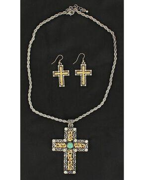 Blazin Roxx Two-Tone Cross Necklace & Earrings Set, Multi, hi-res