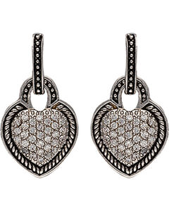 Montana Silversmtihs Beaded Pave Heart Earrings, , hi-res