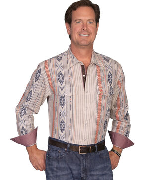 Scully Signature Series Aztex Striped Western Shirt, Natural, hi-res