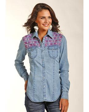 Rock & Roll Cowgirl Women's Indigo Lightweight Denim Shirt , Indigo, hi-res