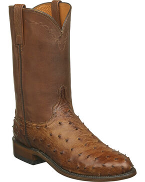 Lucchese Men's Zane Full Quill Ostrich Roper Boots - Round Toe, Brown, hi-res