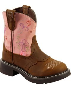 Justin Girls' Gypsy Light Up Cross Embroidered Cowgirl Boots, , hi-res