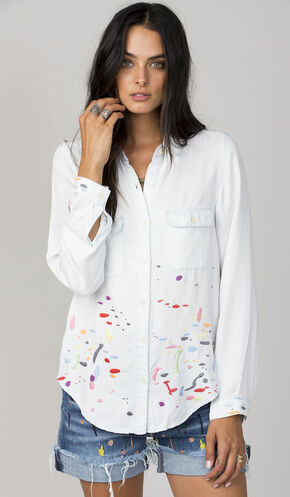 Miss Me Women's White Paint Splatter Button Down Shirt, Light Blue, hi-res