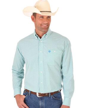 Wrangler George Strait Green Print Poplin Western Shirt , Multi, hi-res