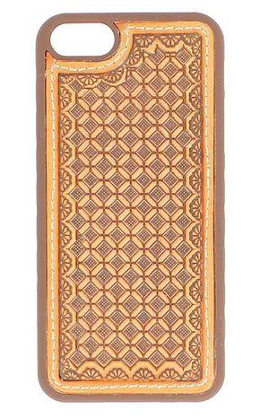 Nocona Tooled Waffle Weave Leather iPhone 5 Phone Case, Saddle Tan, hi-res