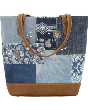 Bandana by American West Women's Indigo Zip Top Bucket Tote, Blue, hi-res