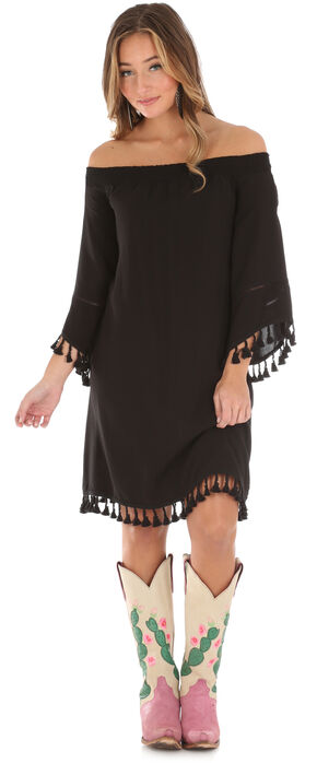 Wrangler Women's Black Pom Pom Trim Dress, Black, hi-res