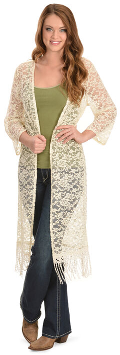 Young Essence Women's Cream Lace Long Cardigan, , hi-res