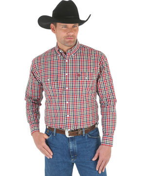 Wrangler George Strait Men's Green, Red, and Navy Plaid Western Shirt, Green Plaid, hi-res