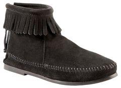 Women's Minnetonka Suede Back Zipper Moccasin Boots, , hi-res