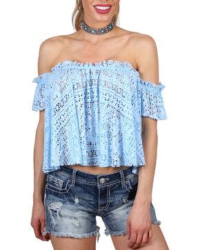 Shyanne Women's Off the Shoulder Sheer Crop Top, Light/pastel Blue, hi-res