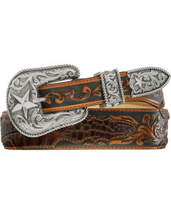 Tony Lama Beaumont Tapered Croc Print Leather Belt, , hi-res