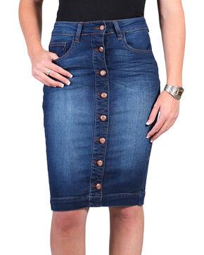 Boom Boom Jeans Women's Denim Button Midi Skirt, Blue, hi-res
