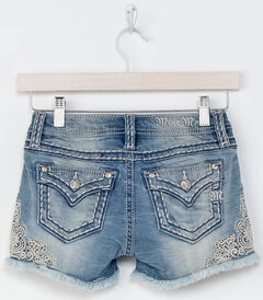 Miss Me Girls' Indigo Be A Lady Lace Detail Shorts , , hi-res