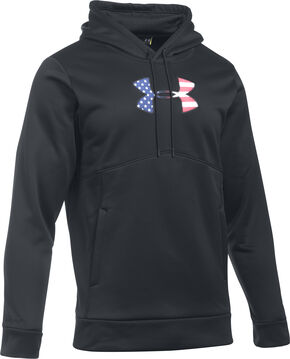 Under Armour Men's Black Big Flag Logo Icon Hoodie, Black, hi-res