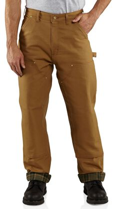 Carhartt Firm Duck Double Front Dungaree Flannel Lined Pants, Brown, hi-res