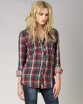 MM Vintage by Miss Me Women's Open Road Plaid Shirt, Red, hi-res