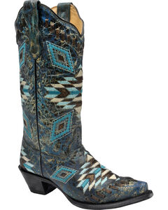 Corral Distressed Turquoise Aztec Woven Cowgirl Boots - Snip Toe , , hi-res
