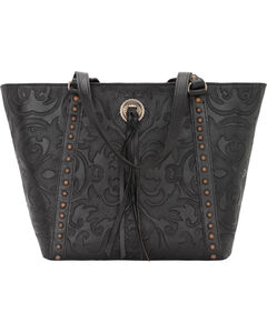 American West Black Baroque Zip Top Bucket Tote , , hi-res