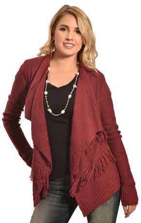 Derek Heart Women's Red Twisted Yarn Slub Fringe Cardigan , Red, hi-res