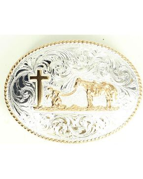 Engraved Praying Cowboy Belt Buckle, Silver, hi-res