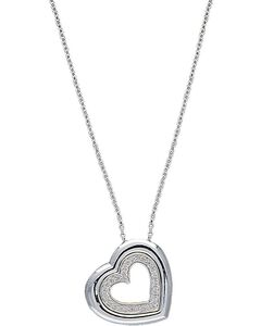 Montana Silversmiths Silver Tone & Crystal Nested Hearts Necklace, , hi-res