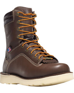 "Danner Men's Brown Quarry USA 8"" Wedge Work Boots - Alloy Toe , , hi-res"